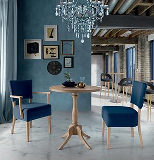 Mesa Té, silla y sillón Añil